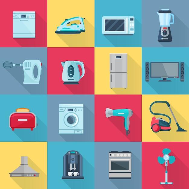 Lokalisierter farbschattenhaushaltsgerät-elementsatz der flachen vektorillustration der elektrischen elektronischen und digitalen produkte Premium Vektoren