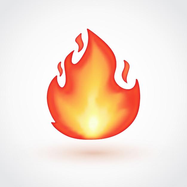Lokalisierter flamme emoticon auf hellgrauem hintergrund Premium Vektoren