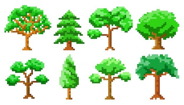 Lokalisierter satz der pixelkunst bäume Premium Vektoren