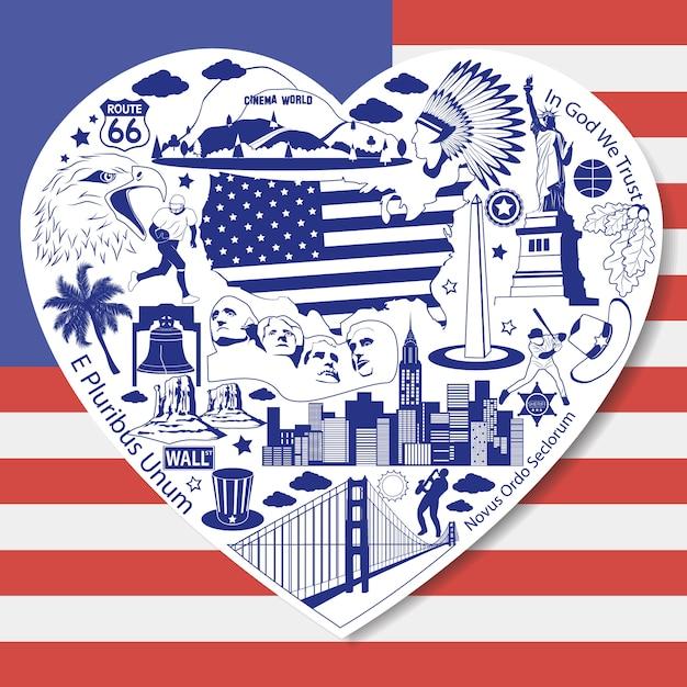Lokalisierter satz mit americanicons und symbolen in der form des herzens Premium Vektoren