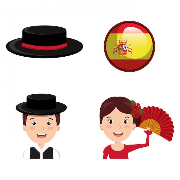Lokalisiertes ikonendesign der spanischen kulturikonen Premium Vektoren
