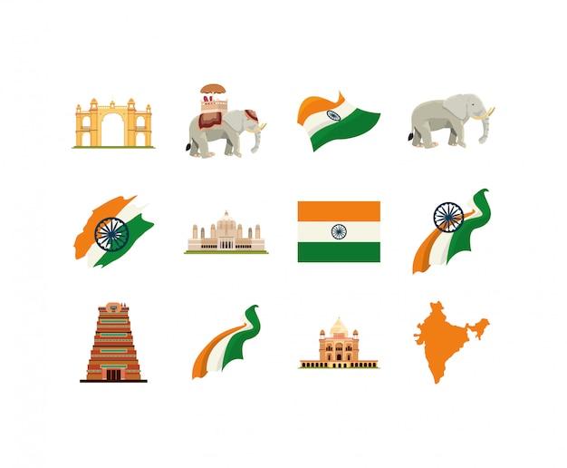 Lokalisiertes indisches ikonenset Premium Vektoren
