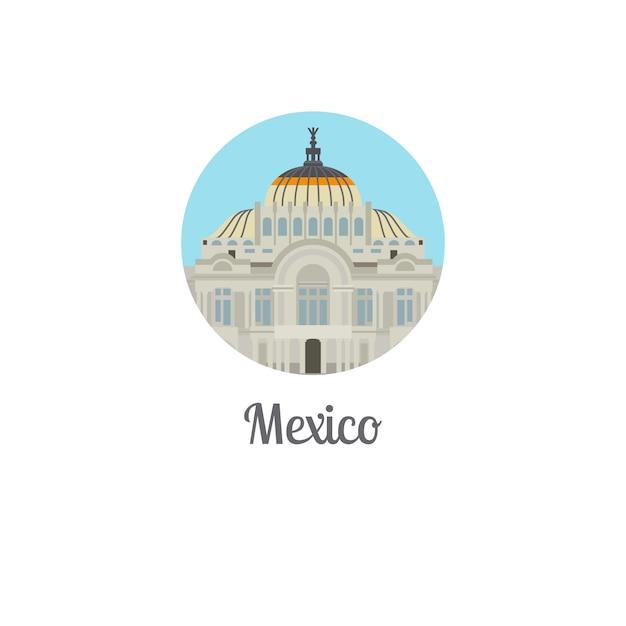 Lokalisiertes rundes symbol des mexiko-palastmarksteins Premium Vektoren