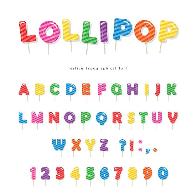 Lollipop candy schriftart. Premium Vektoren