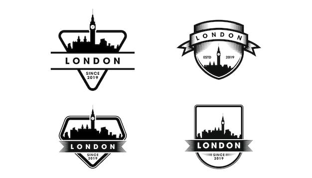 London abzeichen logo. london skyline und wahrzeichen silhouette Premium Vektoren