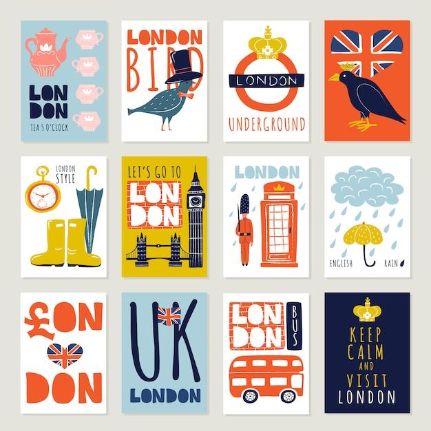 London-plakate und fahnen eingestellt Kostenlosen Vektoren