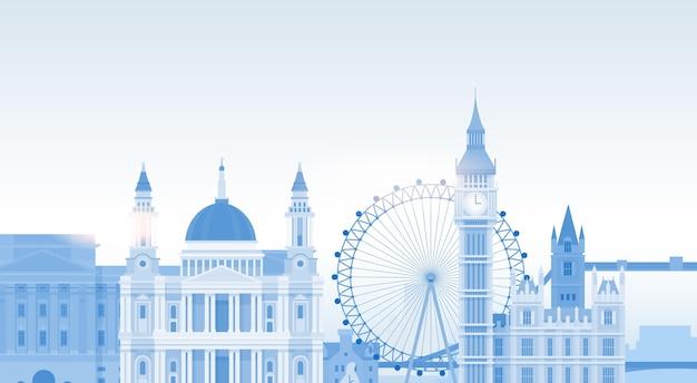 London-schattenbild-englisch-stadt-ansicht-kopien-raum Premium Vektoren