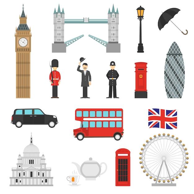 London sehenswürdigkeiten flache icons set Kostenlosen Vektoren