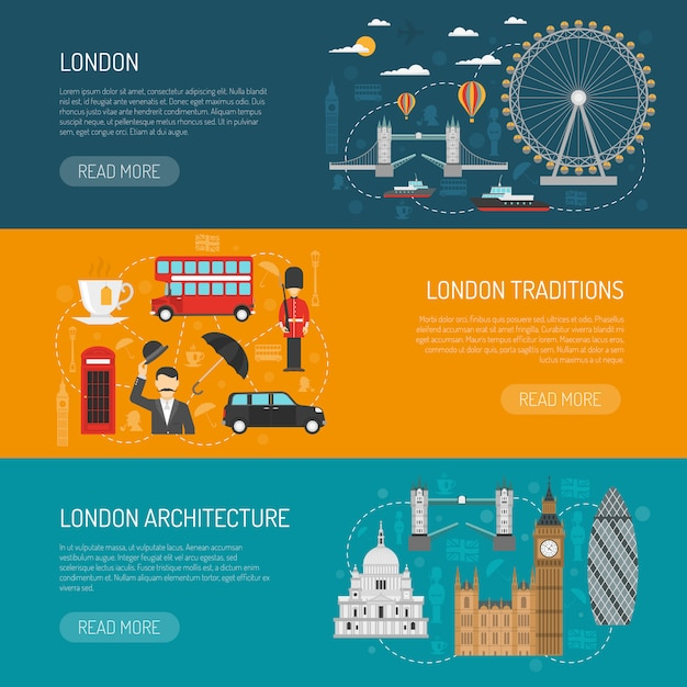 London sehenswürdigkeiten flat banner set Kostenlosen Vektoren