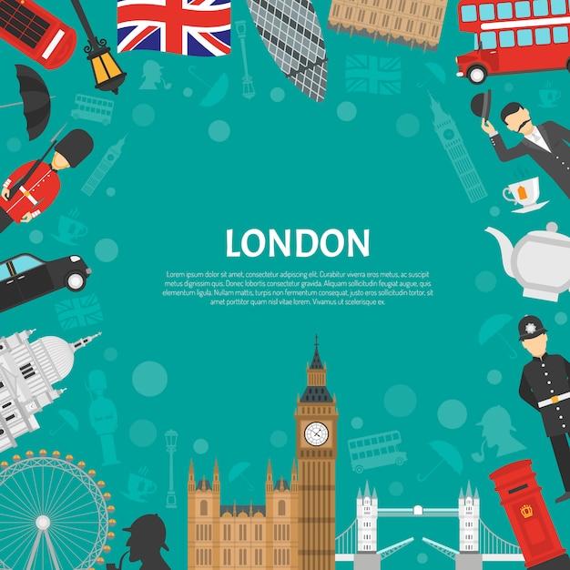 London-stadt-rahmen-hintergrund-flaches plakat Kostenlosen Vektoren