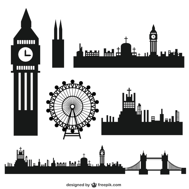 Line Drawing Tattoo London : London stadt silhouetten download der kostenlosen vektor