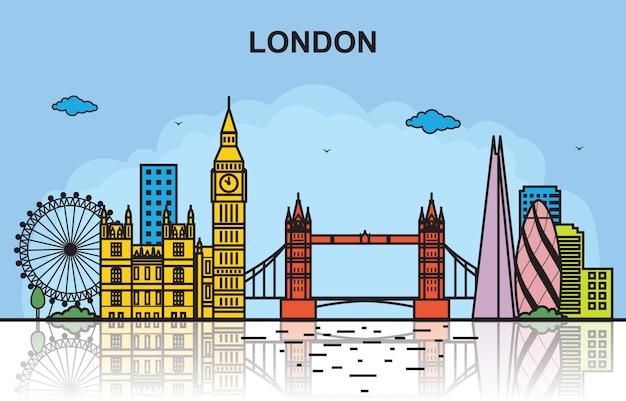 London-stadtausflug-stadtbild-skyline-bunte illustration Premium Vektoren