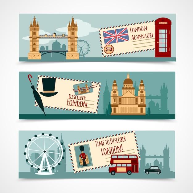London touristen banner set Kostenlosen Vektoren