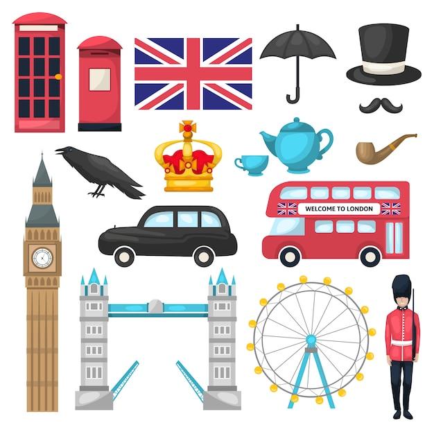Londoner ikone mit verschiedenen attraktionen erkennbaren gebäuden und transportmitteln Kostenlosen Vektoren