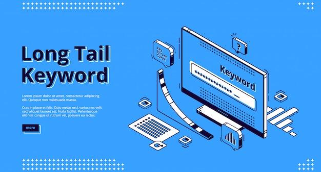 Long tail keyword isometrische landing page, banner Kostenlosen Vektoren