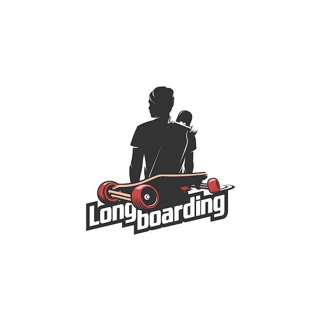Longboarding mannschattenbild-logoillustration Premium Vektoren