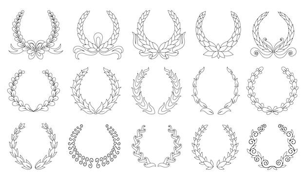Lorbeerkranz. sammlung verschiedener schwarzer runder lorbeer-, oliven-, weizenkränze, die eine auszeichnung, eine leistung, eine heraldik, einen adel darstellen. premium-insignien, traditionelles siegessymbol. Premium Vektoren