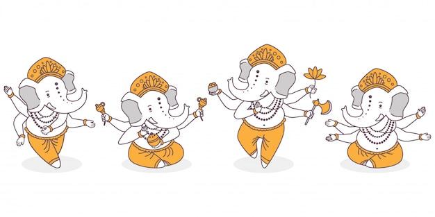 Lord ganesha cartoon niedlichen charaktere gesetzt. hinduistischer gott mit elefantenhand in tanz und lotuspose lokalisiert auf weißem hintergrund. Premium Vektoren