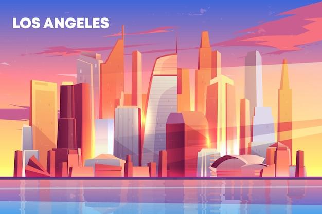 Los angeles-stadtskylinearchitektur nahe ufergegend, moderner megapolis mit gebäudewolkenkratzern Kostenlosen Vektoren