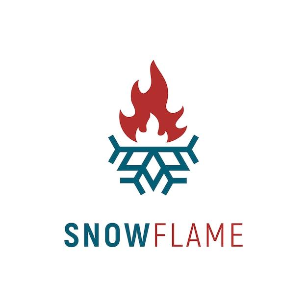 Lot und wärme / kalt & heiß / flamme & schneeflocke-logo-design Premium Vektoren