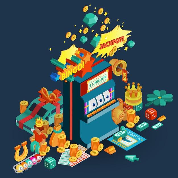 Lotterie jackpot isometrische zusammensetzung Kostenlosen Vektoren