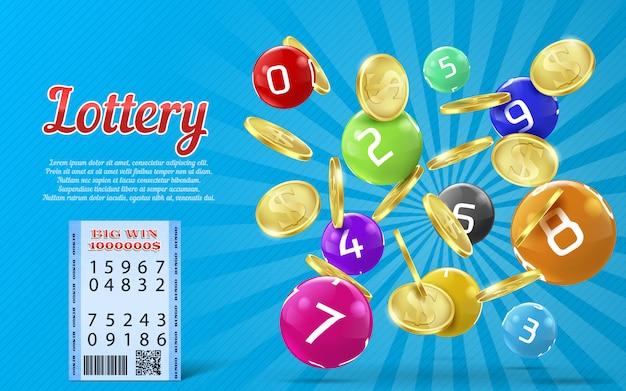 Lotteriebanner mit realistischen goldenen münzen, bunte bälle mit zahlen Premium Vektoren
