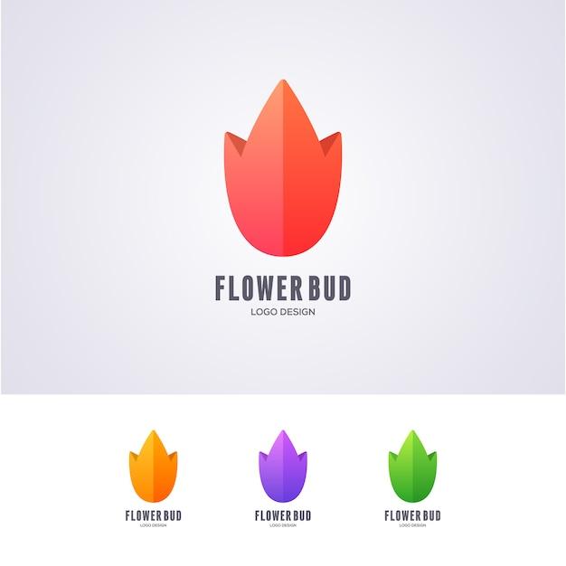Lotus flower bud logo design Premium Vektoren