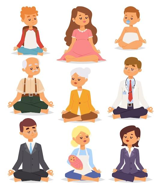 Lotus position yoga pose meditation kunst entspannen menschen entspannen auf weißem hintergrund konzept charakter glück Premium Vektoren