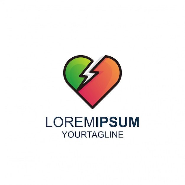 Love thunder line und color awesome inspiration logo Premium Vektoren