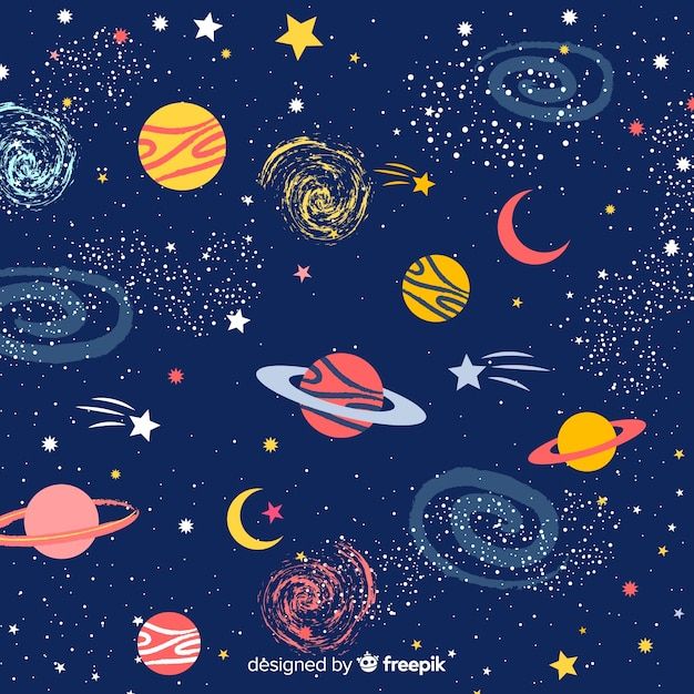 Lovely hand gezeichneten galaxie hintergrund Kostenlosen Vektoren