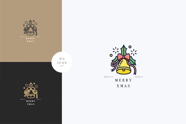 Lovely merry xmas konzept linear mit weihnachtsglocke. gruß typografie kompositionen weihnachtskarten, banner Premium Vektoren