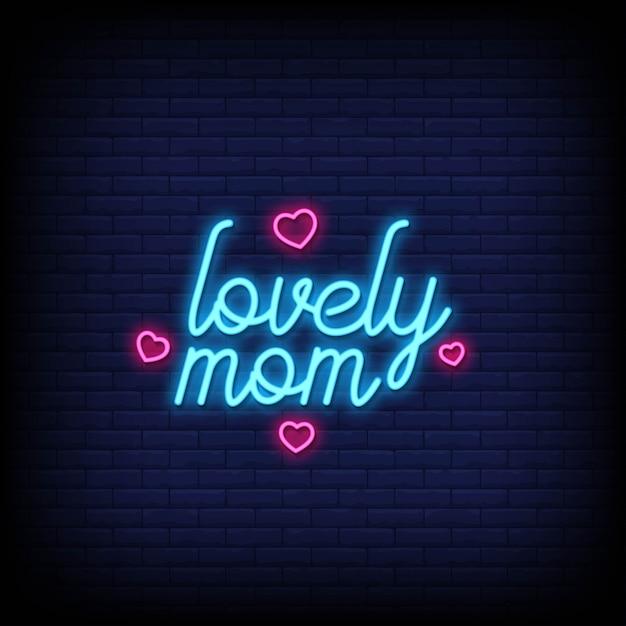 Lovely mom leuchtreklamen stil text Premium Vektoren
