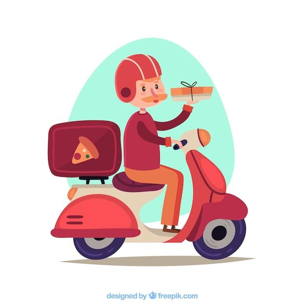 Lovely pizza delivery man auf scooter Kostenlosen Vektoren