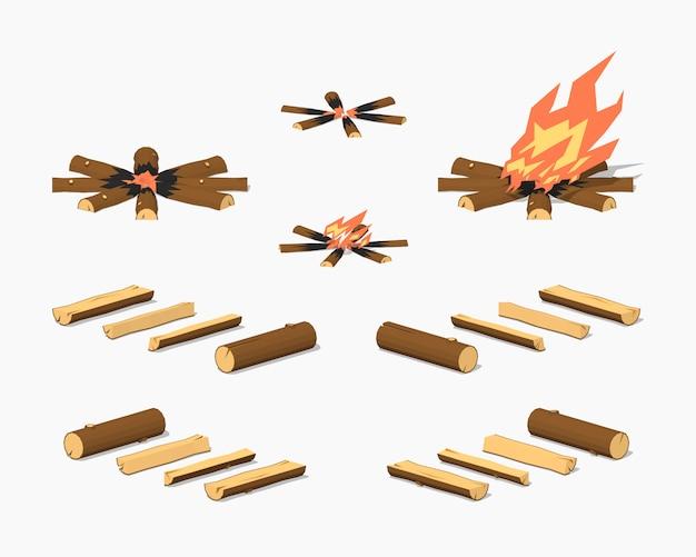 Low poly lagerfeuer und brennholz Premium Vektoren