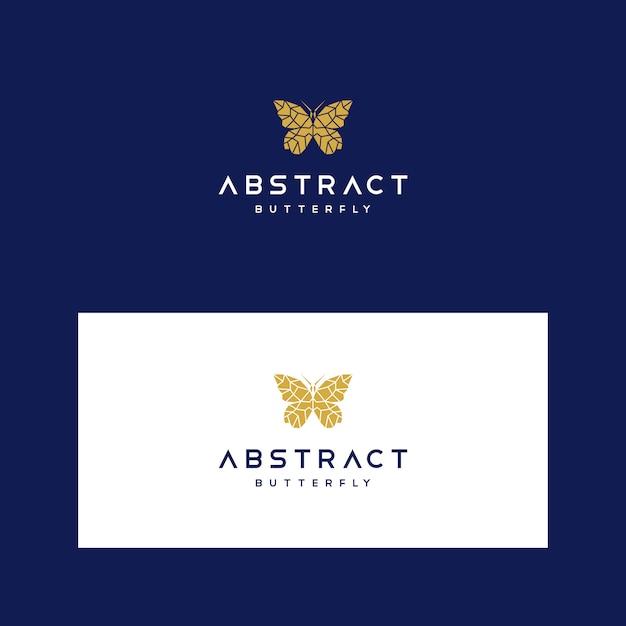 Low-poly-logo-vorlage mit geometrischen schmetterling Premium Vektoren