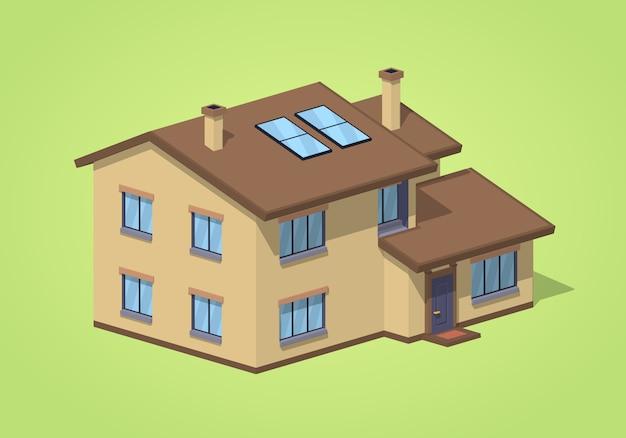 Low poly vorstadthaus Premium Vektoren