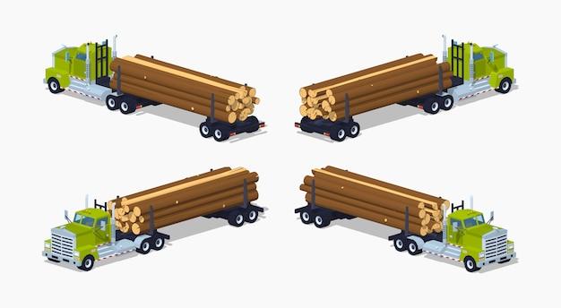 Lowpoly isometrischer 3d-lastwagen mit dem stapel von protokollen Premium Vektoren