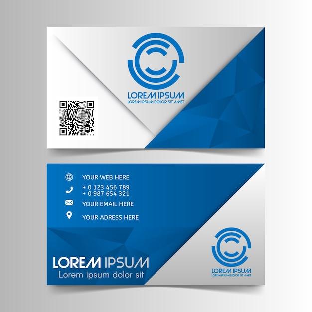 Lowpoly Visitenkarte Mit Qr Code Premium Vektor