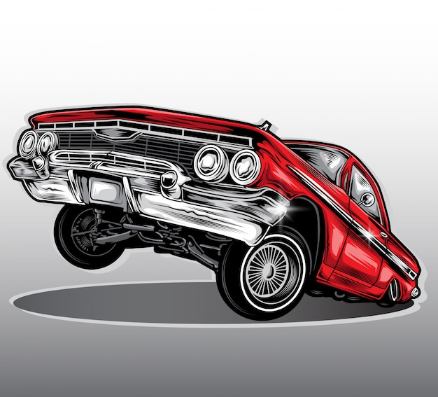 Lowrider-autovektor Premium Vektoren