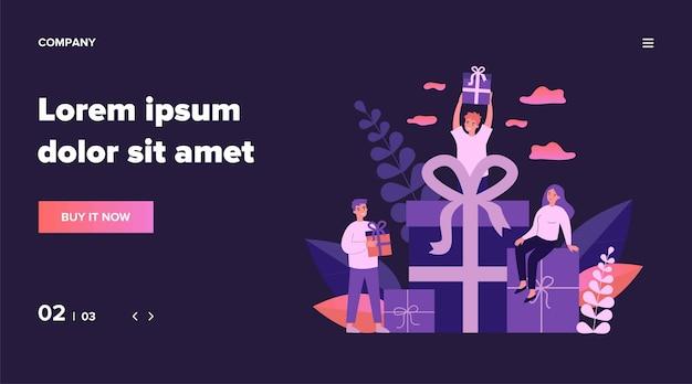 Loyale kunden erhalten geschenke und boni aus dem geschäft. glückliche junge leute, die geschenkboxen erhalten. illustration für belohnung, treueprogramm, werbung, marketingkonzept Premium Vektoren