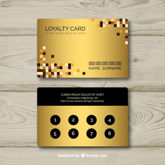 Loyalitätskartenschablone mit goldener art Kostenlosen Vektoren
