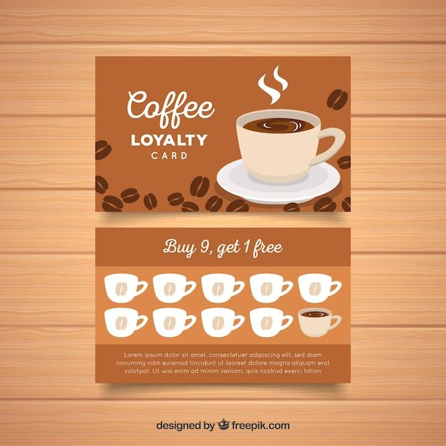 Loyalitätskartenschablone mit kaffeecoupons Kostenlosen Vektoren