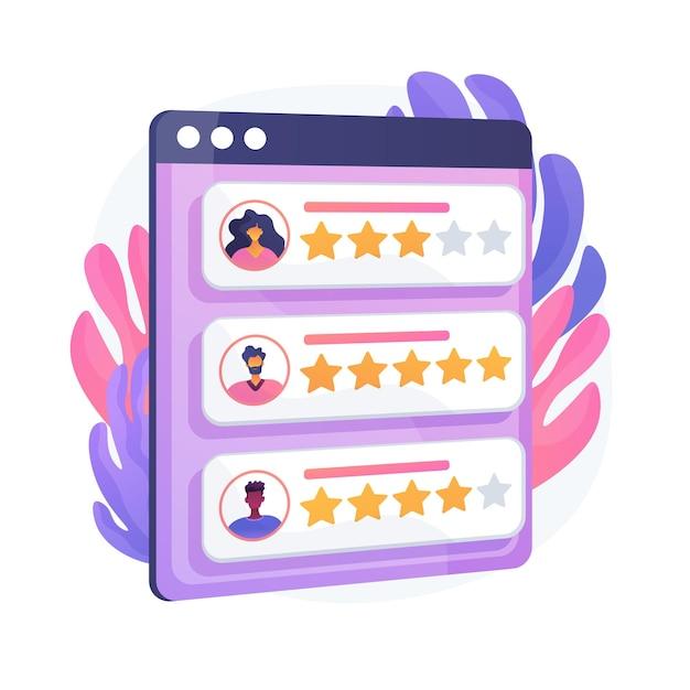 Loyalitätssterne. kunden- und benutzerbewertungen. website-ranking-system, positives feedback, stimmen bewerten. webseite mit bewerteten persönlichen profilen. vektor isolierte konzeptmetapherillustration Kostenlosen Vektoren