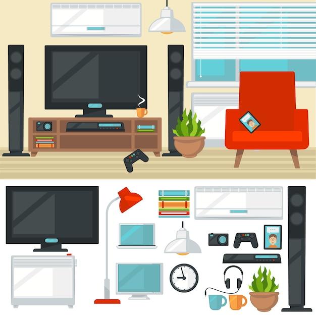 Lt_001konzept des kreativen wohnzimmers mit stuhl und fernseher. modern Premium Vektoren