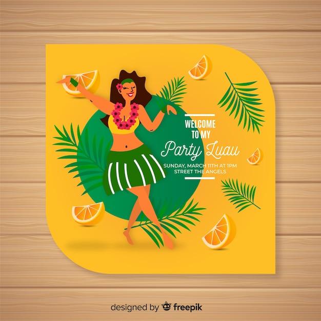 Luau orangen einladungsvorlage Kostenlosen Vektoren