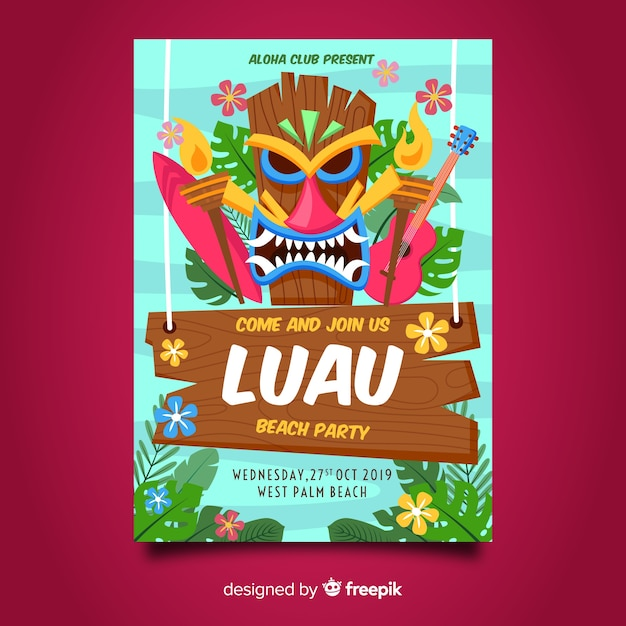 Luau party flyer Kostenlosen Vektoren