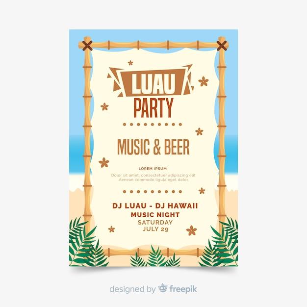 Luau party-flyer Kostenlosen Vektoren