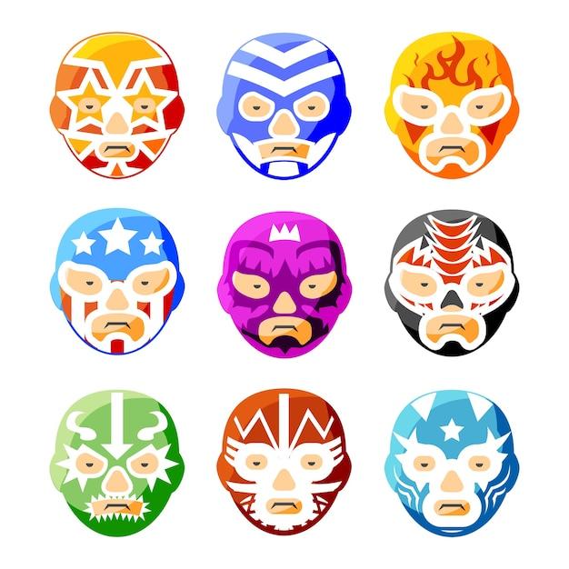 Lucha libre, luchador mexikanische wrestling masken farbsymbole eingestellt. charaktergesichtsperson, sportkostümsymbol Kostenlosen Vektoren