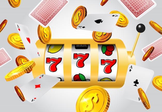 Lucky seven slot-maschine, fliegende asse und goldene münzen auf grauem hintergrund. Kostenlosen Vektoren