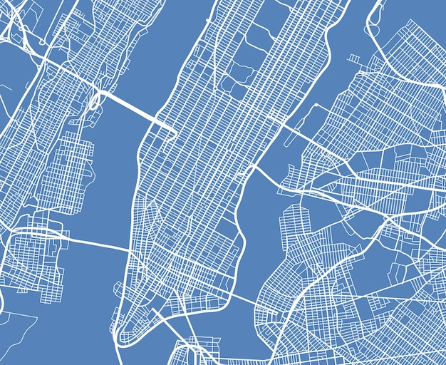 Luftaufnahme usa new york city vektor straßenkarte Premium Vektoren
